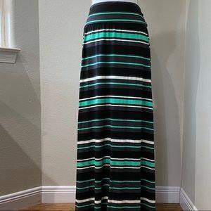 MERONA XXL Black Teal White Striped Maxi Skirt